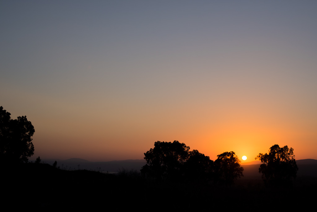 zapad slunce golanske vysiny izrael