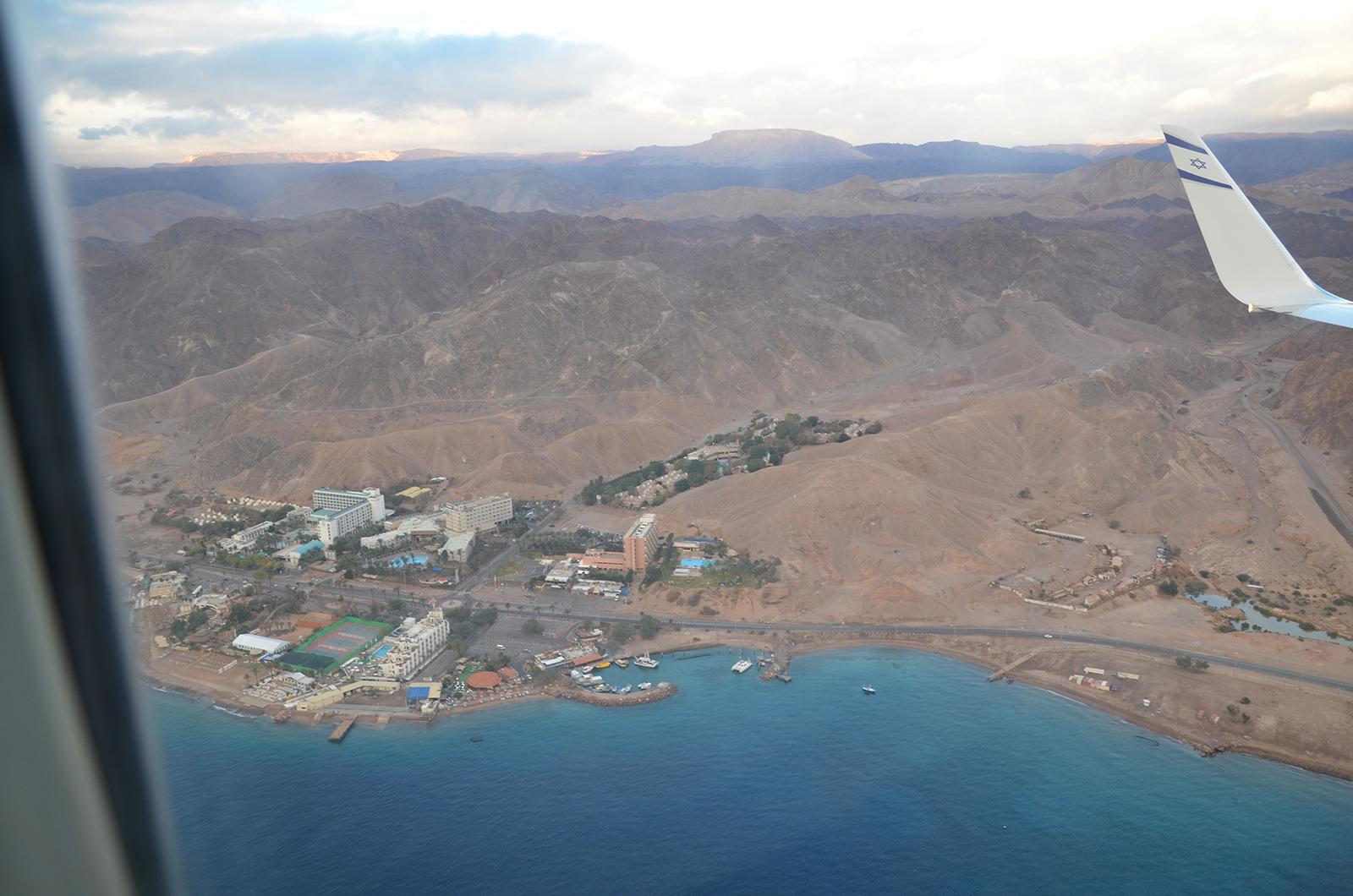 krátce před přistáním v Eilatu