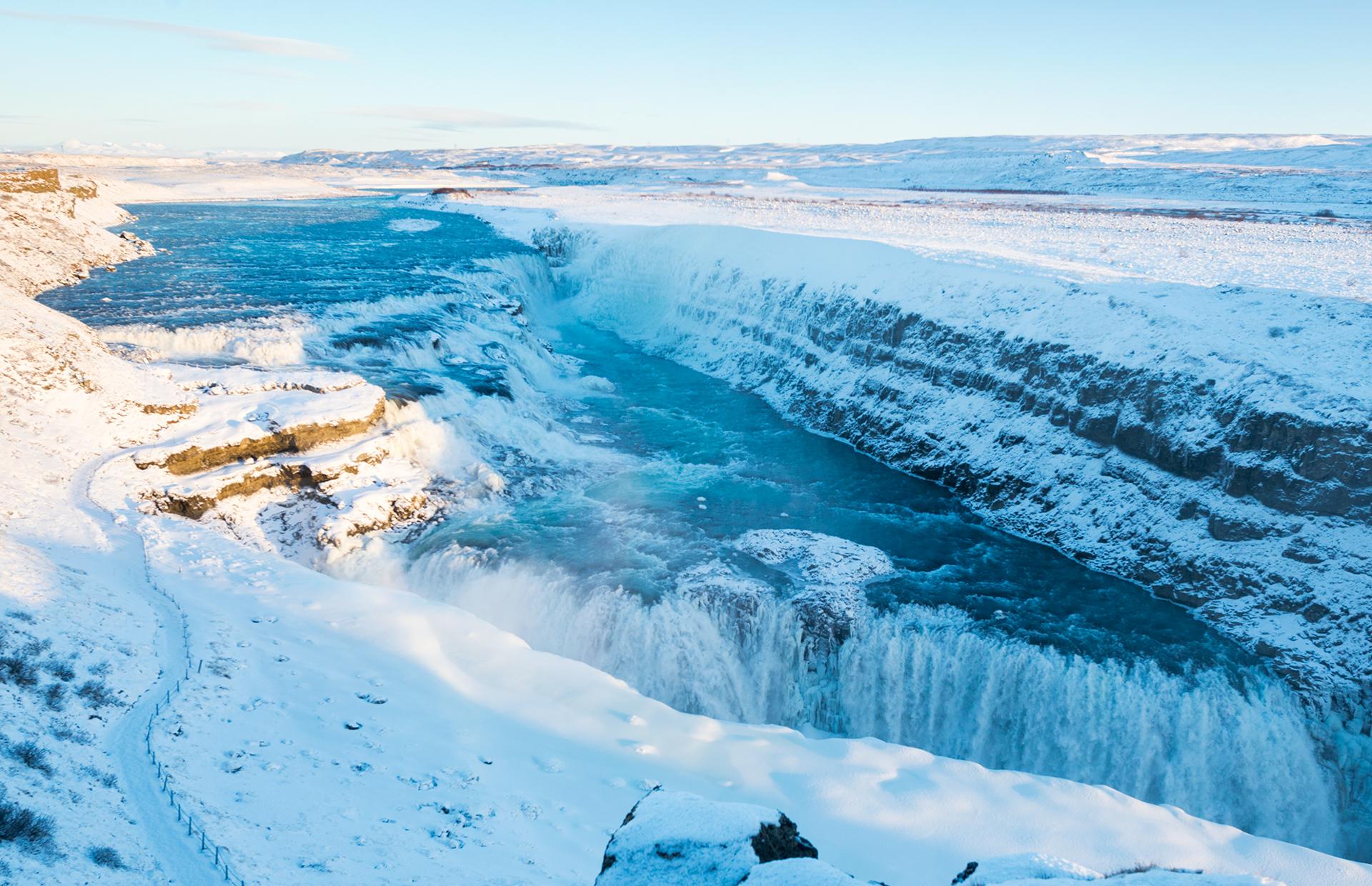 Gullfoss Iceland Winter