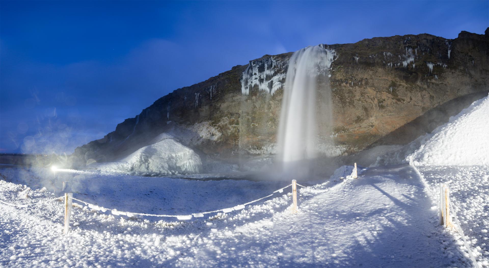 Seljalandfoss famous icelandic nature attraction winter panorama