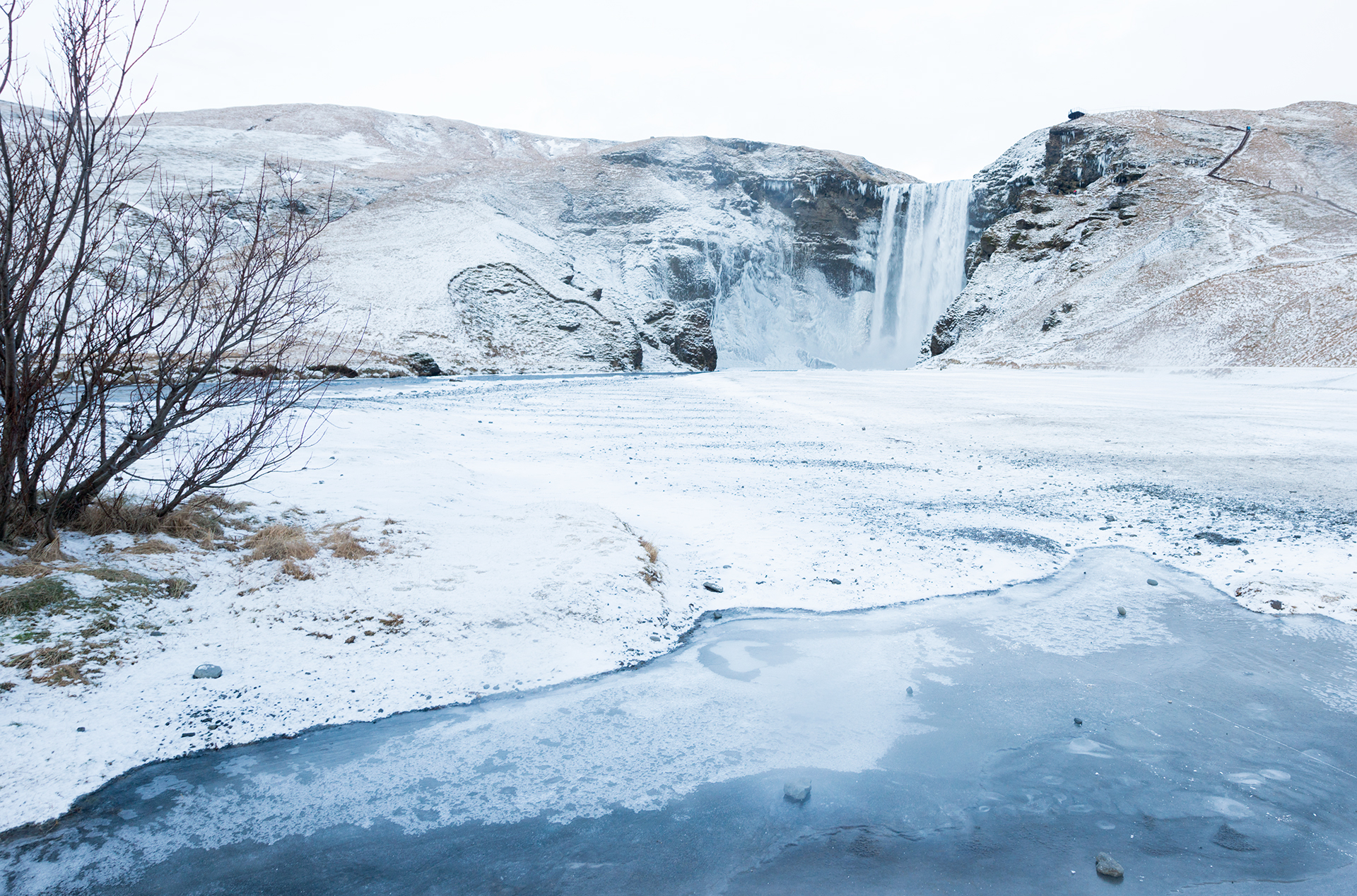 Skogafoss waterfall iceland winter