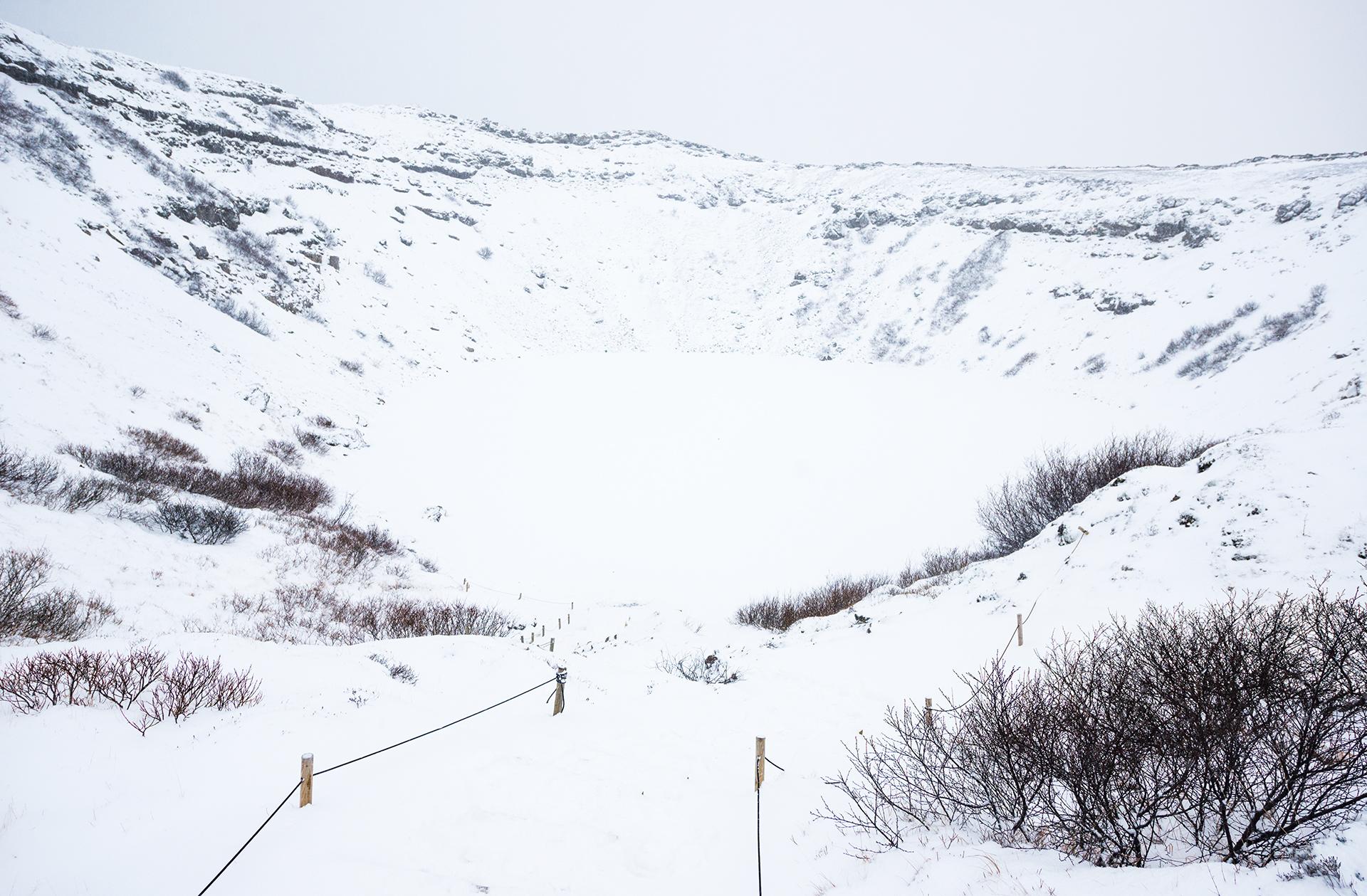 Kedrid volcanic crater iceland winter