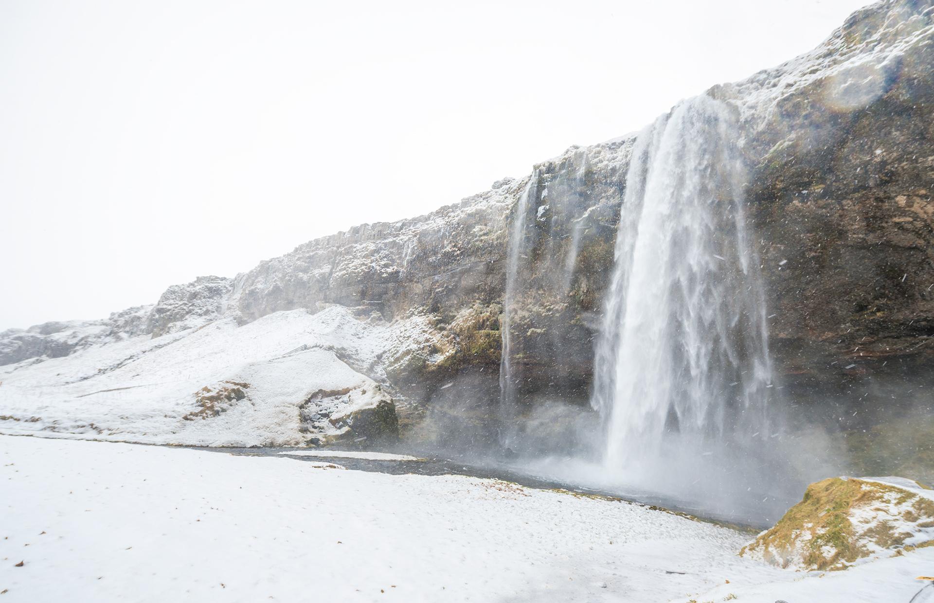Iceland Seljalandfos near Golden Circle winter Icelandic