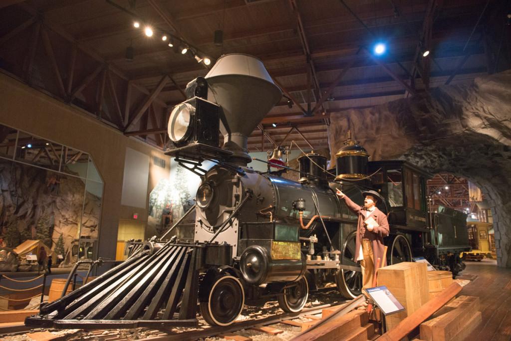 Parní lokomotiva v kalifornském železničním muzeu