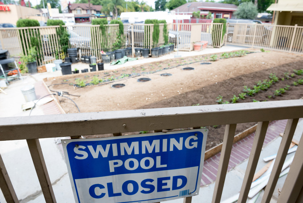 bazén v motelu, Modesto