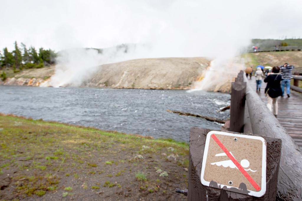 digforfree.com mini yellowstone-near-grand-prismatic-river-bridge-swimming-prohibited-pictogram-sign