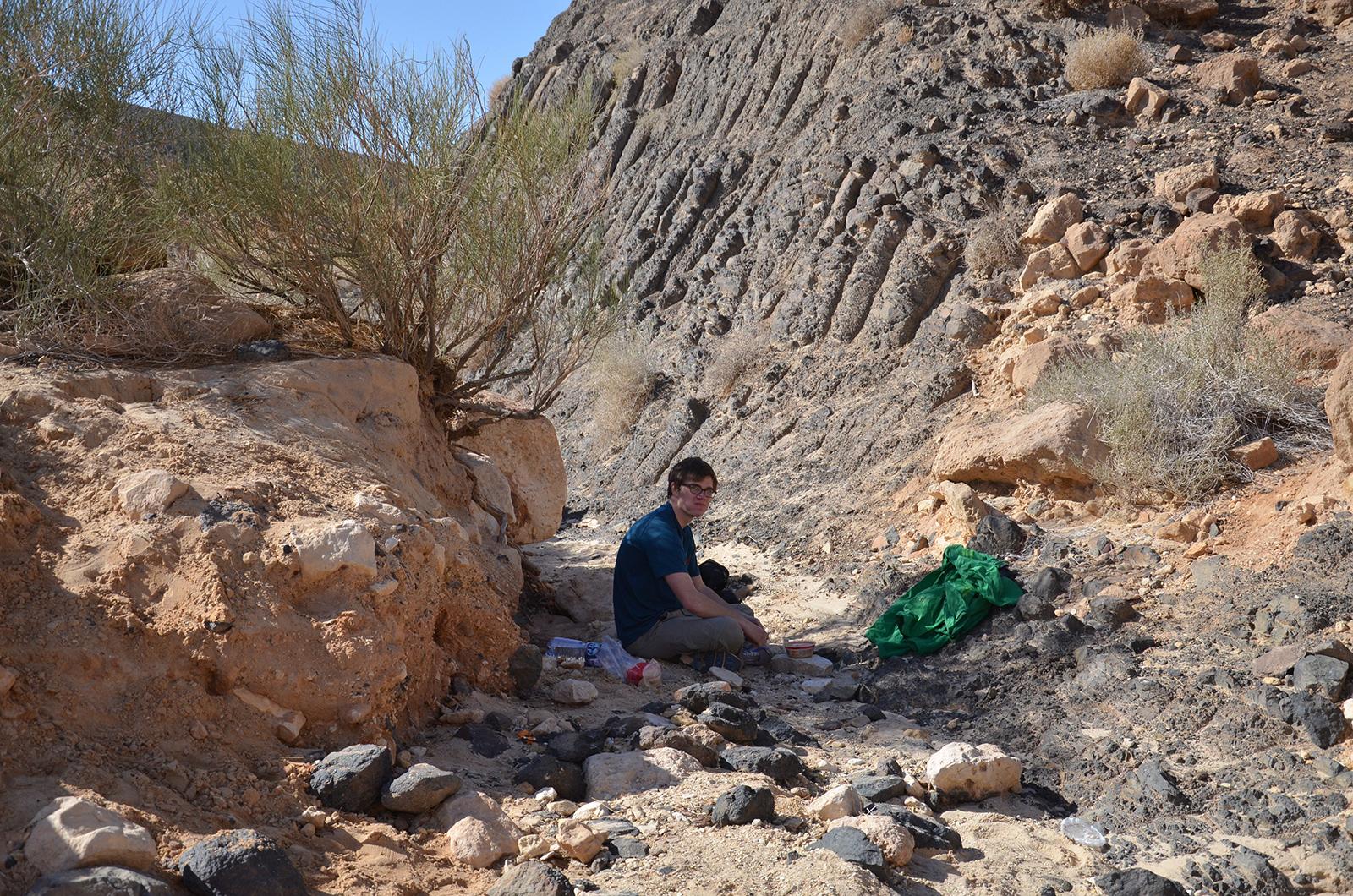 Pauza na svačinu ve stínu keřů, Negevská poušť, Izrael