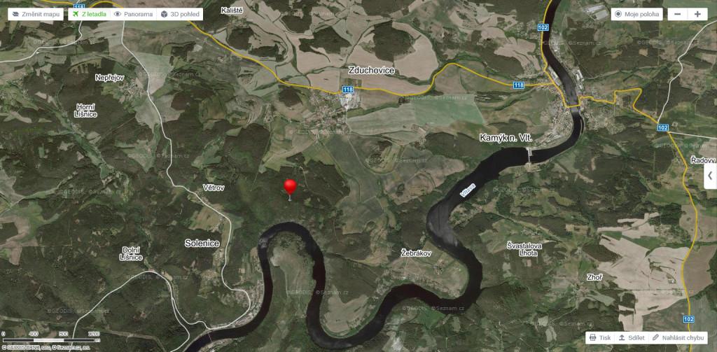 Solenicky meandr satelitni mapa