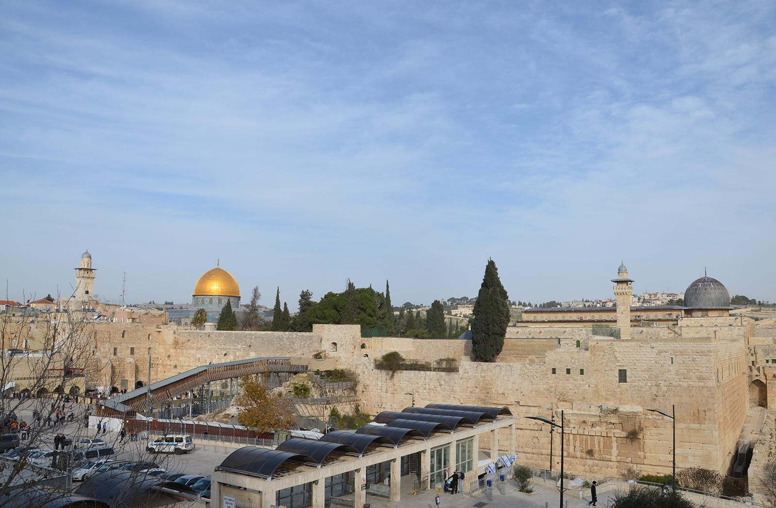 mešity Al-Aqsa, Skalní dóm a Zeď nářků, Jeruzalém, Izrael