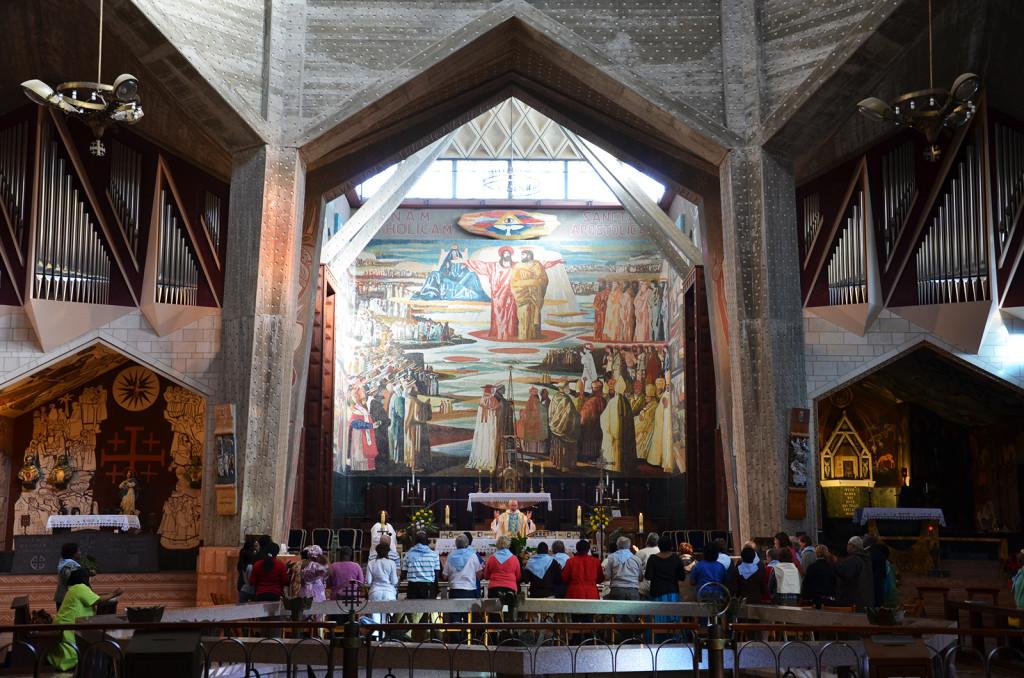 interiér Baziliky zvěstování, Nazaret, Izrael