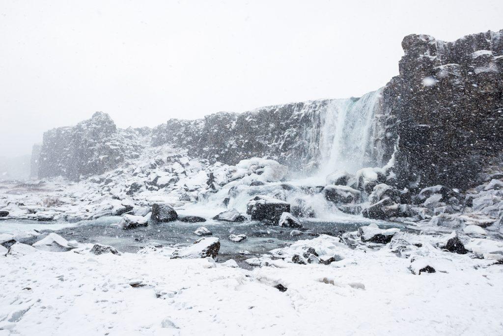 Oxararfoss Thingvellir Golden Circle Iceland winter tour