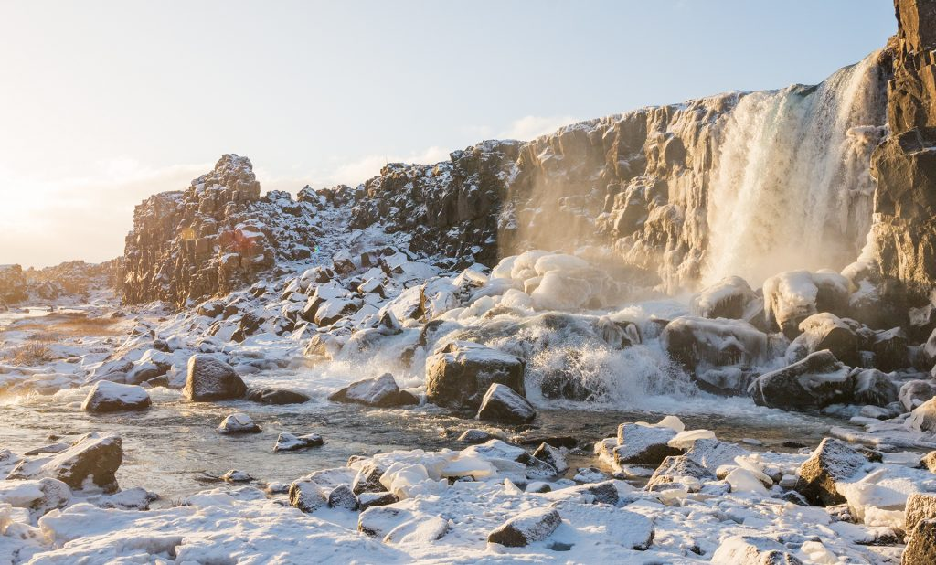 Oxararfoss during the winter days in Iceland