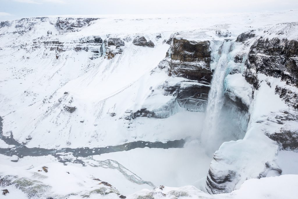 haifoss during the cold snowy winter icelandic days