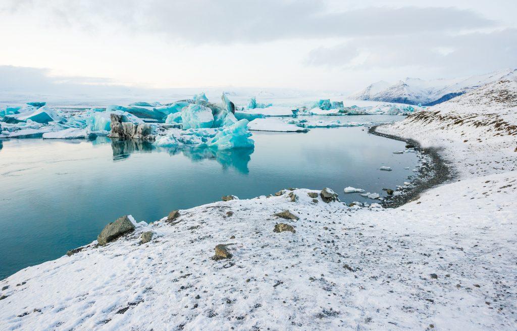 Jokulsarlon icelandic glacier lagoon winter