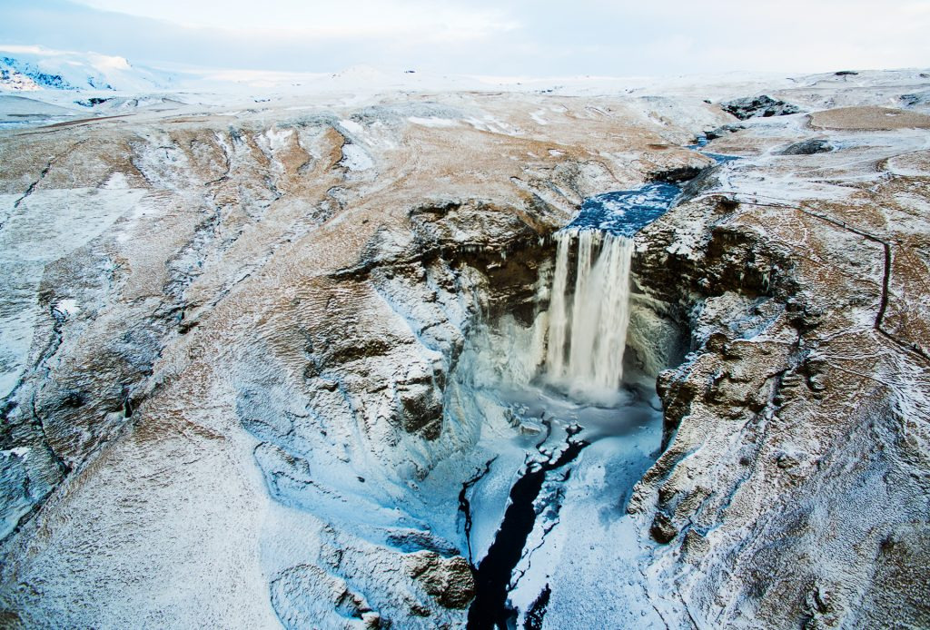 iceland skogafoss winter aerial view