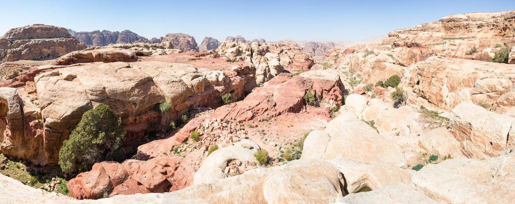 panorama jordánské pouště, Petra