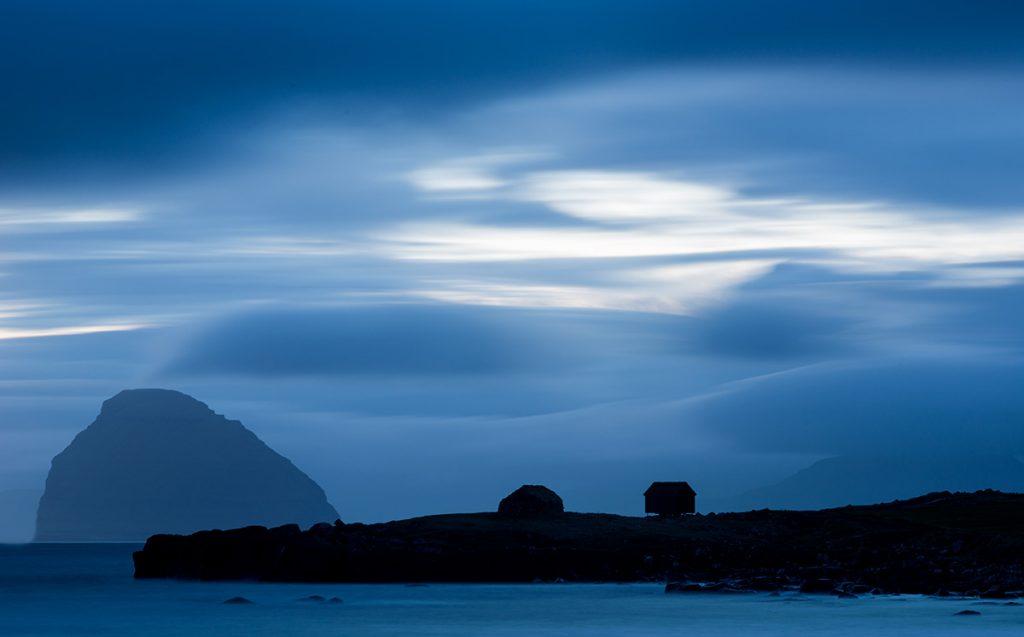 Faerské ostrovy po setmění