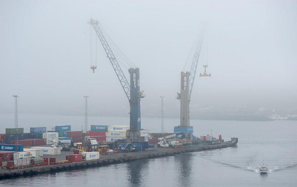 Faroei islands under a heavy fog